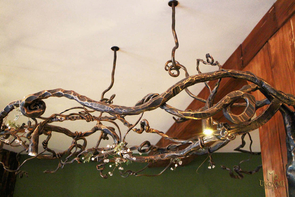 Hotel galileo donovaly slovakia artistic blacksmith ukovmi exclusive hand forged chandelier with the motif of nature in the hotel galileo tatras mozeypictures Image collections
