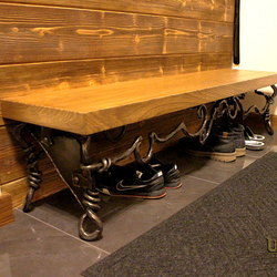A design hallway shoe-rack - hand-forged shoe-rack in combination with wood