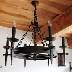 Historical side-wall six-candles lighting 'ANTIK' - a wrought iron indoor chandelier with historical design