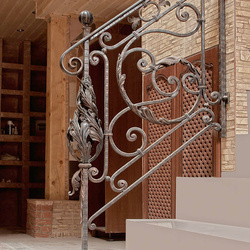 A hand wrought iron railing
