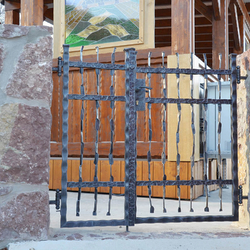A hand-wrought iron gate pattern - Crazy - in the entrance of the area