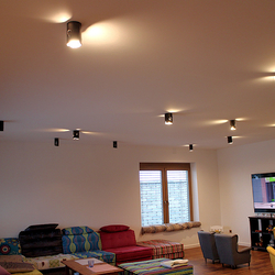 General view of Living room lighting in a family house - artistic lightings