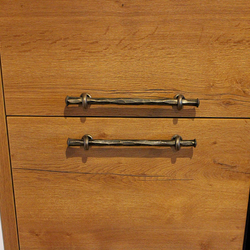 Hand-forged handles on the kitchen cabinet - wrought-iron kitchen accessories