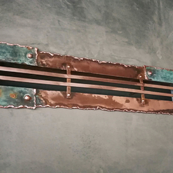 Copper wrought iron fireplace accessories