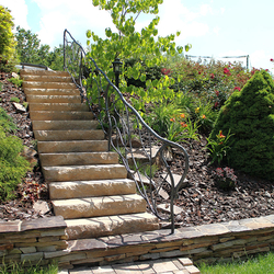 Staircase lighting in the garden with a floor lamp CLASSIC – forged lights