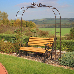 Wrought iron garden bench and accessories