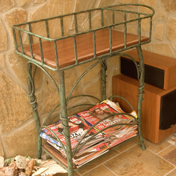 A wrought iron shelf in a rustic style - luxury furniture