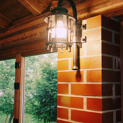 A hand forged lamp in the summer kitchen