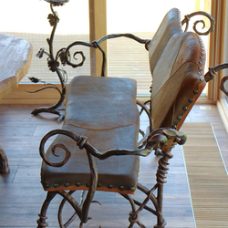 Luxury bench with leather forged in Artist Blacksmith UKOVMI as a part of dining room furniture