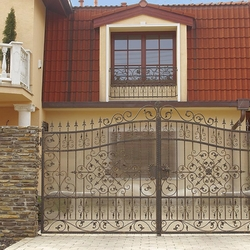 A decorative wrought iron gate