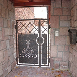 A modern wrought iron gate