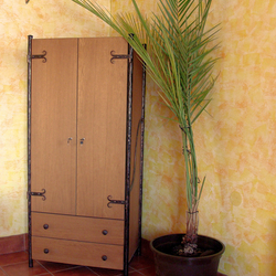 A wrought iron wardrobe wood - metal combination