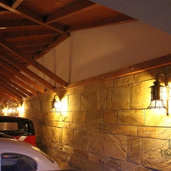 Wrought iron lighting in luxurious parking garages