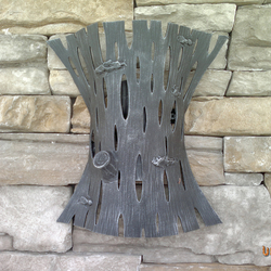 A wrought iron lamp shade - bark