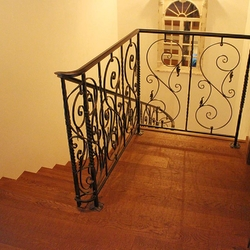Hand wrought iron interior staircase railing