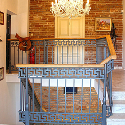 Antique railings at a guesthouse entrance produced by Ukovmi company