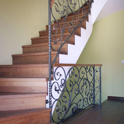 Wrought iron railings combined with wood in Germany