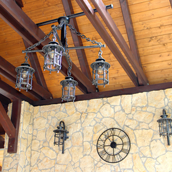 The lighting of summer gazebo in the pension in Slovak Paradise – wall and pendant lamps CLASSIC / T