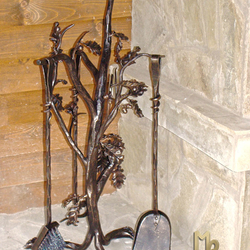 Fireplace tools - oak branch