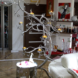 A stainless candleholder - Tree and a luxury light