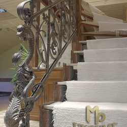 The replica of a historic staircase railing